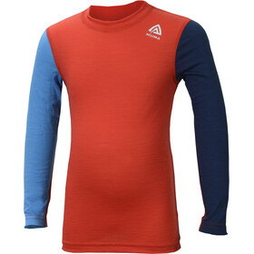 Aclima Kids LightWool LS Crew Neck Shirt high risk red/blithe/insignia blue